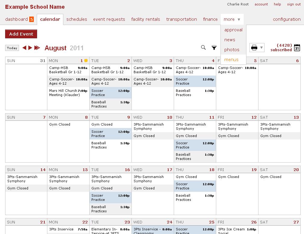 Online School Calendar - Menu, 1