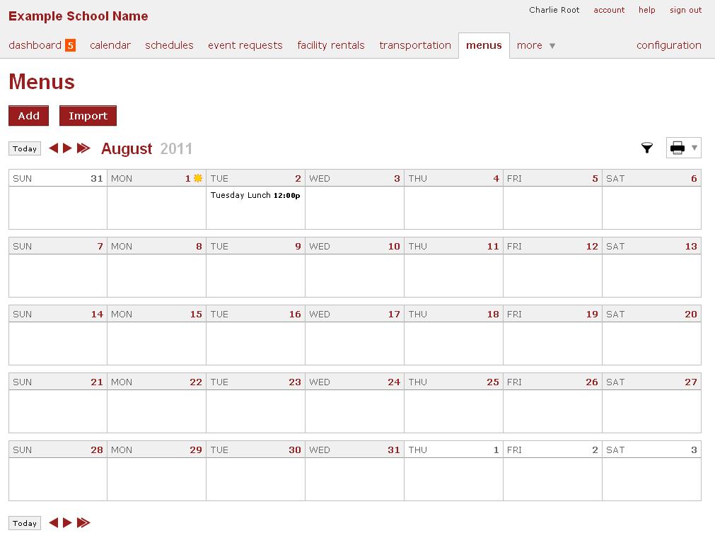 Online School Calendar, Menu - 2