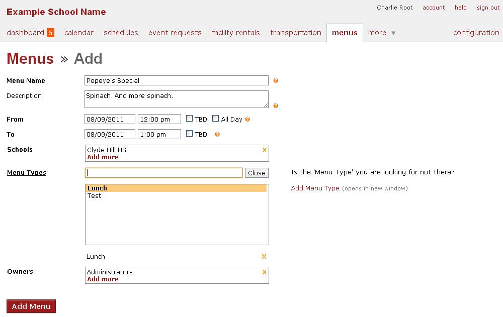 Online School Calendar, Menu - 3